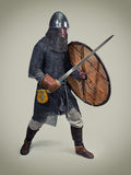 Young warrior of the early middle ages. Young man in clothes and armour from the early middle ages stock photography