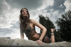 Young warrior woman Royalty Free Stock Photography