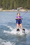 Young Waterskier on a beautiful scenic lake Royalty Free Stock Photos