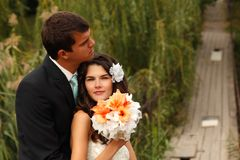 Young wedding couple, beautiful bride with goom portrait on the Stock Photography