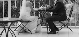 Young wedding couple. Black and white colors Royalty Free Stock Images