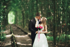 Young wedding couple, bride and groom posing on a railway track Royalty Free Stock Images
