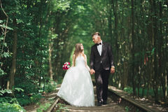 Young wedding couple, bride and groom posing on a railway track Royalty Free Stock Photography
