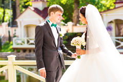 Young wedding couple enjoying romantic moments Royalty Free Stock Photos