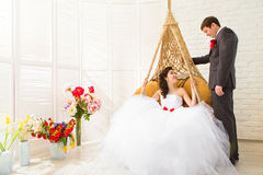 Young wedding couple enjoying romantic moments Royalty Free Stock Photos