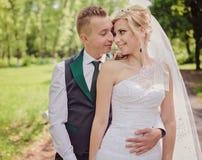 Young wedding couple enjoying romantic moments Stock Image