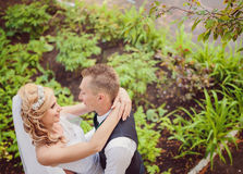 Young wedding couple enjoying romantic moments Royalty Free Stock Image