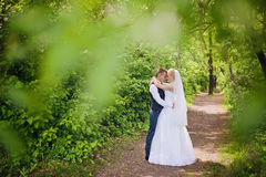 Young wedding couple enjoying romantic moments Royalty Free Stock Photo