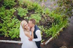 Young wedding couple enjoying romantic moments Stock Images