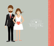 Young wedding couple. Flat illustration Stock Photo