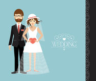 Young wedding couple. Flat illustration Royalty Free Stock Photography