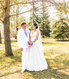 Young wedding couple  in funny big glasses Royalty Free Stock Photos