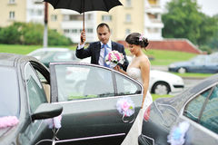 Young wedding couple getting in a car Royalty Free Stock Photography