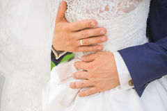 Young wedding couple. Groom and bride together Stock Images
