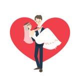 Young wedding couple groom carrying bride cartoon Royalty Free Stock Photos