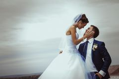 Young wedding couple kissing Royalty Free Stock Photo
