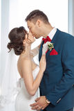 Young wedding couple kissing against a window Stock Photos