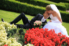 Young wedding couple lying in garden Stock Photography
