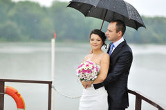 Young wedding couple outdoor portrait Stock Photo