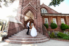 Young Wedding Couple Outdoors Royalty Free Stock Image