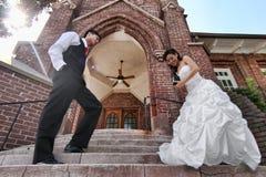 Young Wedding Couple Outdoors Stock Image