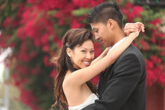 Young Wedding Couple Outdoors Stock Photography