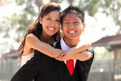 Young Wedding Couple Outdoors Royalty Free Stock Photos