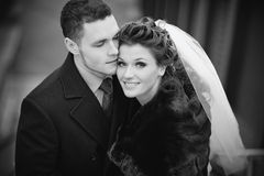 Young wedding couple portrait Stock Photos