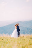 Young wedding couple posing on sunny field with distant forest hills as background. Bride gently holding shoulders of groom Royalty Free Stock Image