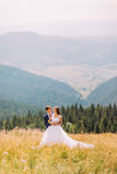 Young wedding couple posing on sunny field with forest hills background stock photography