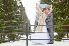Young wedding couple standing on bridge in snowy park Stock Photography