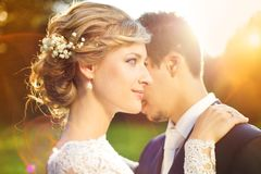 Young wedding couple on summer meadow Royalty Free Stock Images