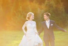 Young wedding couple on summer meadow Stock Photos