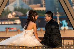 Young wedding couple on The Waibaidu Bridge shanghai china Royalty Free Stock Images