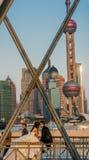 Young wedding couple on The Waibaidu Bridge shanghai china Stock Image