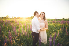 Young wedding couple walking on field with flowers Stock Photography