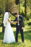 Young wedding couple walking in park. Royalty Free Stock Photo