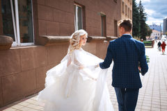 Young wedding couple walking together Stock Photos
