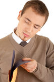 Young well-dressed man with envelop and file Stock Images