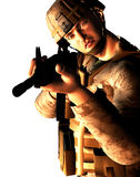 Young Western Soldier. 3d render of a young soldier with M16 assault rifle Royalty Free Stock Photos