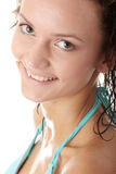 Young wet woman in blue bikini Royalty Free Stock Photo