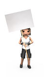 Young White 3D Guy Holding Blank Protest Sign Stock Image