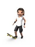 Young White 3D Male Standing On Skateboard Stock Photo