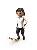 Young White 3D Male Standing on Skateboard Royalty Free Stock Photography