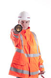 A young white Caucasian repair man with flashlight Royalty Free Stock Images