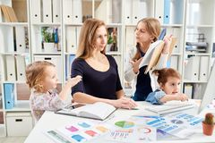 Attracting Attention of Busy Mom stock photo