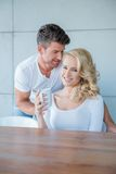 Young White Couple in Coffee Time Photo Shoot Royalty Free Stock Images