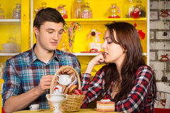 Young White Couple Dating at the Cafe Stock Photos