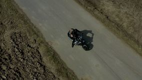 Young white couple on the motorbike stock footage