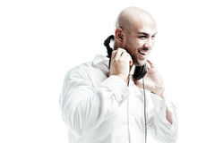 Young white dressed dj smiling Stock Photos